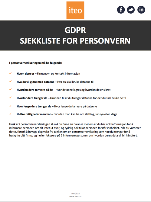 GDPR Sjekkliste for personvern