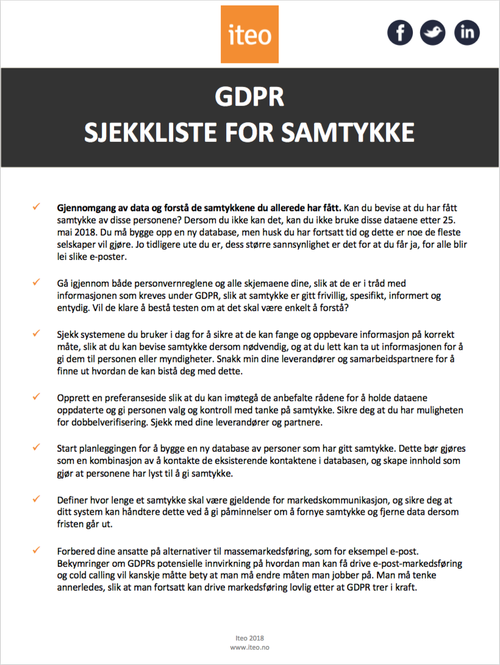GDPR Sjekklisten for samtykke